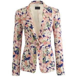 J Crew Collection silk blazer in iris floral